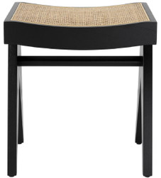 Casa Padrino luxury stool black / natural 39 x 31.5 x H. 43 cm - Solid wood stool with hand-woven rattan - Luxury Furniture