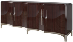 Casa Padrino luxury sideboard dark brown / silver 220 x 50 x H. 90 cm - Noble living room cabinet with 4 doors - Luxury Furniture