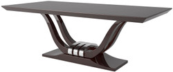 Casa Padrino luxury dining table dark brown / silver 220 x 110 x H. 77 cm - Noble dining room table - Solid wood kitchen table - Luxury dining room furniture