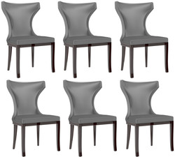 Casa Padrino luxury dining chair set silver / dark brown 50 x 50 x H. 90 cm - Noble kitchen chairs set of 6 - Luxury dining room furniture