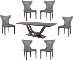 Casa Padrino Luxus Esszimmer Set Silber / Dunkelbraun - 1 Esszimmertisch & 6 Esszimmerstühle - Luxus Qualität - Luxus Esszimmer Möbel