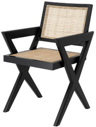 Casa Padrino luxury dining chair black / natural 53 x 57 x H. 84.5 cm - Solid wood chair with armrests and hand-woven rattan - Luxury dining room furniture