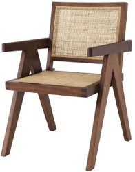 Casa Padrino luxury dining chair brown / natural 57 x 65.5 x H. 90 cm - Solid wood chair with armrests and hand-woven rattan - Luxury dining room furniture
