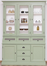 Casa Padrino country style kitchen cabinet light green / white 164 x 50 x H. 226 cm - 2-Piece solid wood dining room cabinet - Country style dining room furniture