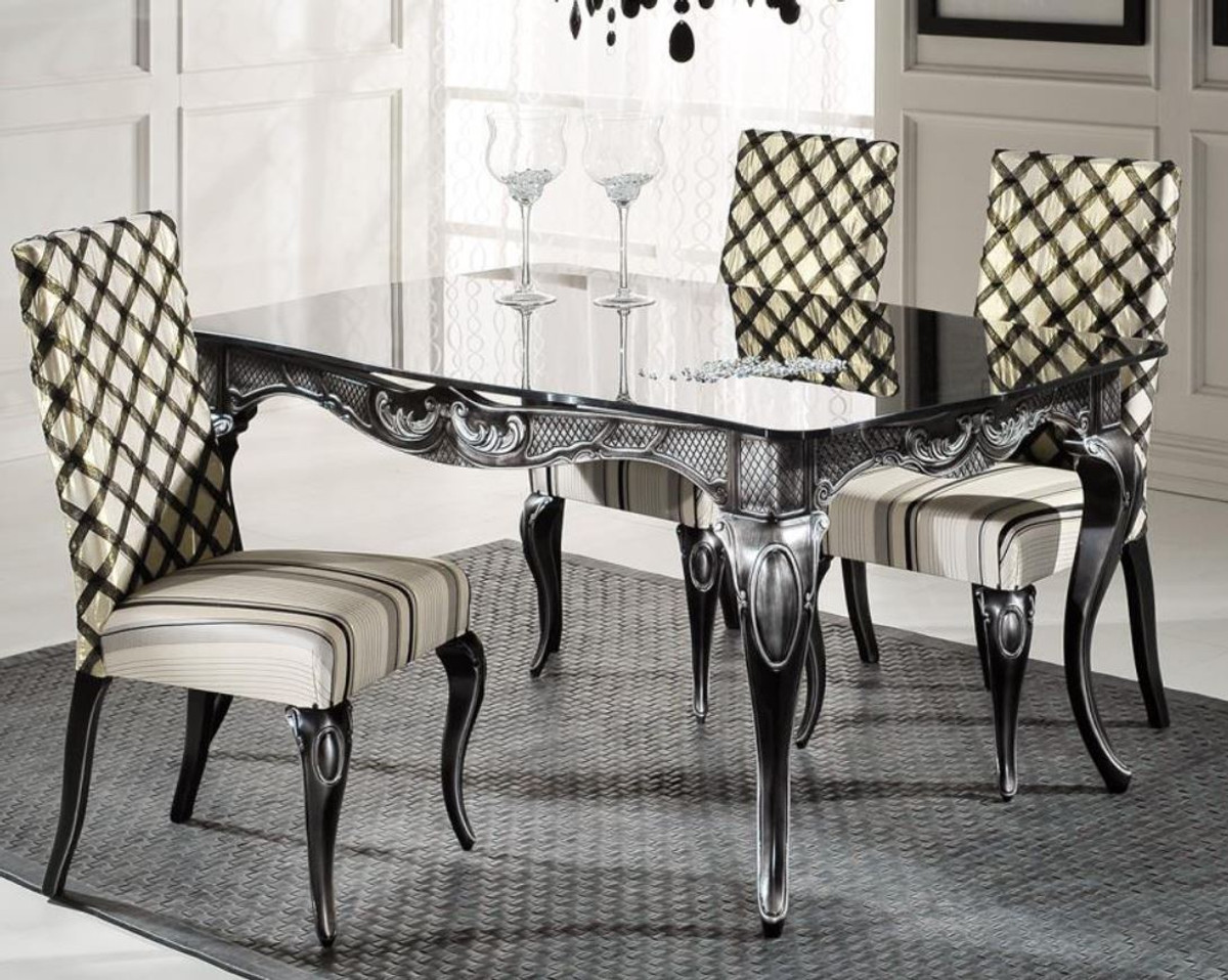 Casa Padrino luxury baroque dining table with glass top black ...