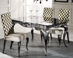 Casa Padrino luxury baroque dining table with glass top black / silver - Different Sizes - Noble dining room table in baroque style - Baroque dining room furniture
