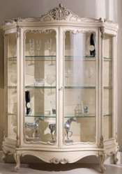 Casa Padrino luxury baroque display cabinet cream / silver 146 x 50 x H. 190 cm - Sumptuous baroque display cabinet with 2 glass doors - Baroque Living Room Furniture