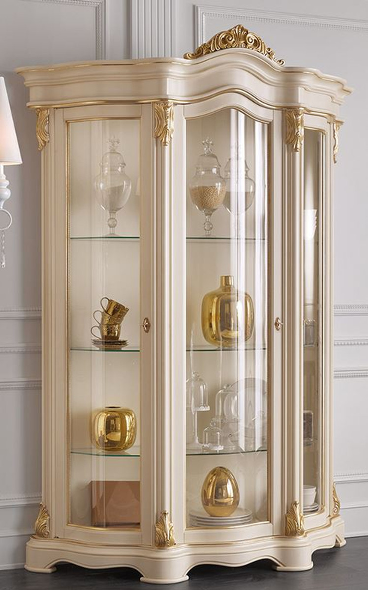 Casa Padrino Luxury Baroque Living Room Display Cabinet Cream Gold 155 X 54 X H 227 Cm Sumptuous Baroque Display Cabinet With 3 Glass Doors Noble Baroque Furniture