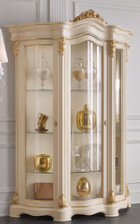 Casa Padrino luxury baroque living room display cabinet cream / gold 155 x 54 x H. 227 cm - Sumptuous baroque display cabinet with 3 glass doors - Noble Baroque Furniture