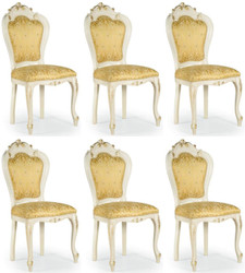 Casa Padrino luxury baroque dining chair set gold / white / gold 50 x 50 x H. 103 cm - Baroque kitchen chairs set of 6 - Dining room furniture in baroque style