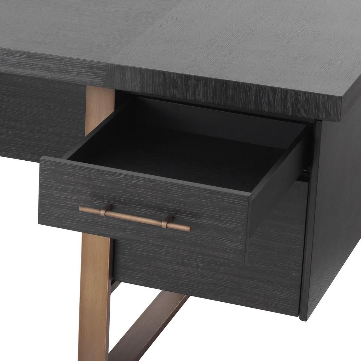 casa padrino bureau de luxe gris anthracite bronze 180 x 80 x h 76 cm elegant bureau en bois massif a 4 tiroirs mobilier de bureau de luxe