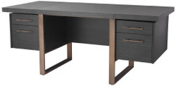 Casa Padrino luxury desk anthracite gray / bronze 180 x 80 x H. 76 cm - Elegant solid wood desk with 4 drawers - Luxury Office Furniture