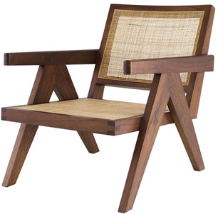 Casa Padrino designer chair brown / natural 58 x 82 x H. 70 cm - Solid wood chair with armrests and hand-woven rattan - Luxury Living Room Furniture