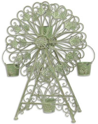Casa Padrino Art Nouveau plant pot holder in ferris wheel design green 64.3 x 32.5 x H. 94.2 cm - Flower wheel - Metal flower pot holder - Garden & Patio Decoration 1