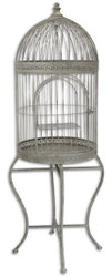 Casa Padrino Art Nouveau birdcage with stand gray 45 x 45 x H. 120.5 cm - Baroque & Art Nouveau Accessories