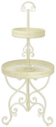 Casa Padrino Art Nouveau etagere white Ø 60 x H. 137 cm - Round 2-tier metal cake stand with handle - Gastronomy Accessories