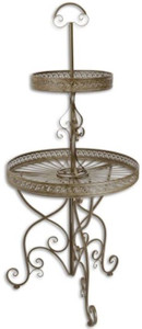 Casa Padrino Art Nouveau etagere brown Ø 60 x H. 137 cm - Round 2-tier metal cake stand with handle - Gastronomy Accessories