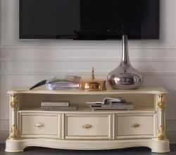 Casa Padrino luxury baroque TV cabinet cream / gold 162 x 49 x H. 61 cm - TV cabinet with 3 drawers - Noble baroque living room furniture