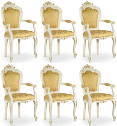 Casa Padrino luxury baroque dining chair set with armrests gold / white / gold 58 x 50 x H. 103 cm - Baroque kitchen chairs set of 6 - Dining room furniture in baroque style