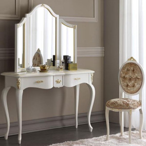 Casa Padrino luxury baroque mirror console set brown / white / gold - Elegant console table with mirror and ladies chair - Luxury baroque bedroom furniture