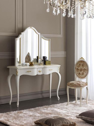 Casa Padrino luxury baroque mirror console set brown / white / gold - Elegant console table with mirror and ladies chair - Luxury baroque bedroom furniture 2