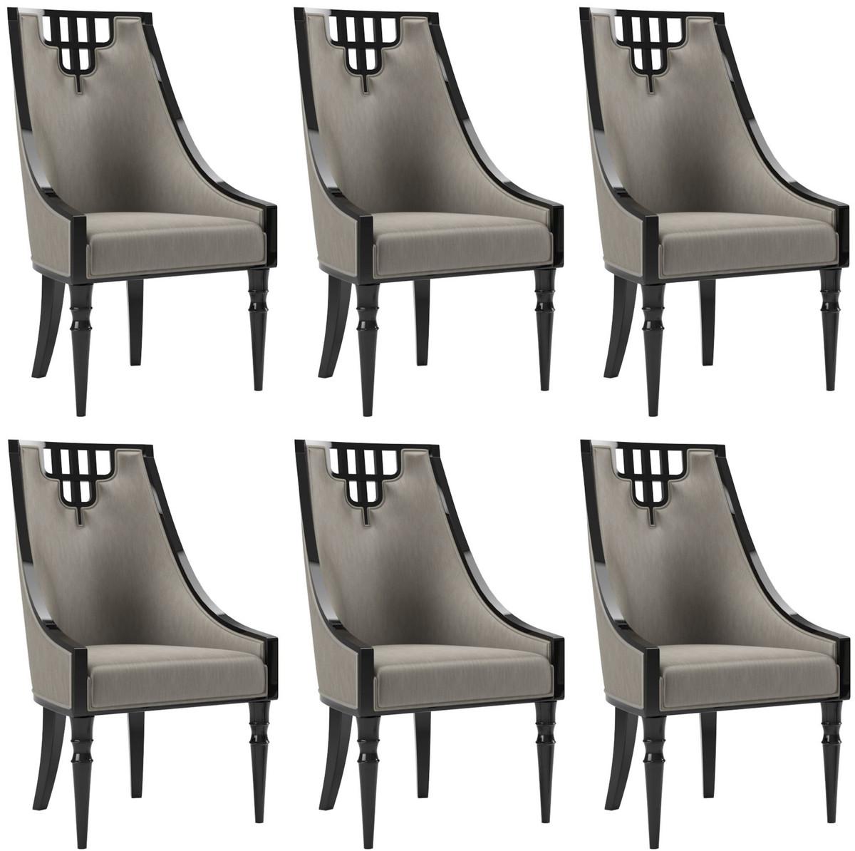 Casa Padrino Luxury Art Deco Dining Chair Set Gray Black 55 X 55 X H 105 Cm Noble Kitchen Chairs Set Of 6 Art Deco Dining Room Furniture
