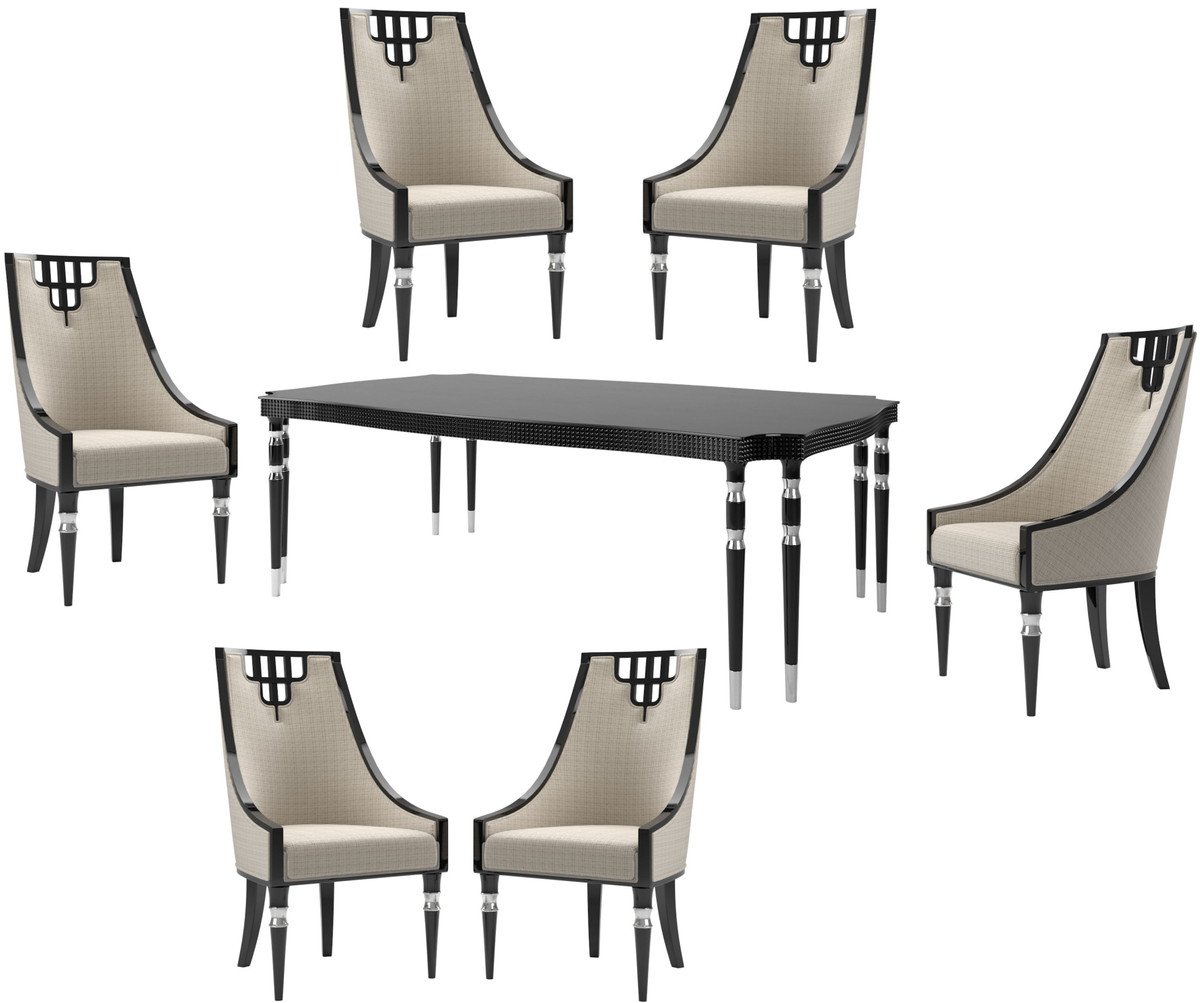 Casa Padrino Luxury Art Deco Dining Room Set Beige Black Silver 1 Dining Room Table 6 Dining Chairs Art Deco Dining Furniture Luxury Quality
