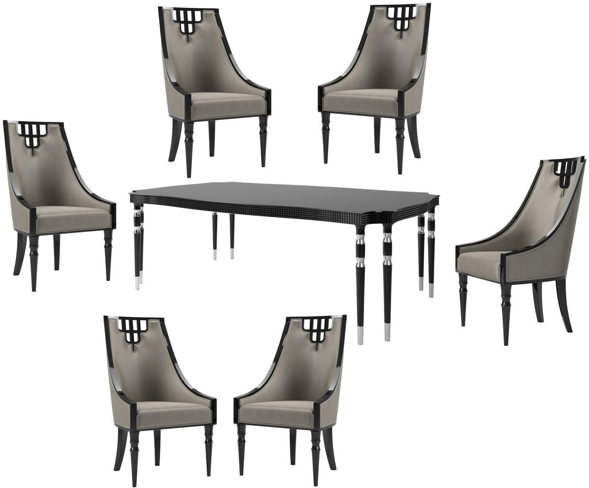 Tavolo Pranzo Art Deco casa padrino set da pranzo art déco di lusso grigio / nero / argento - 1  tavolo da pranzo e 6 sedie da pranzo - mobili da pranzo art deco - qualità  di