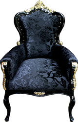 Pompöös by Casa Padrino luxury baroque armchair Bergere black pattern / gold - Pompööser baroque armchair designed by Harald Glööckler