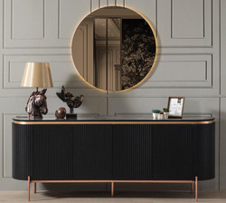 Casa Padrino luxury sideboard black / copper 208 x 60 x H. 80 cm - Noble cabinet with 4 doors and glass top in marble look - Luxury Furniture