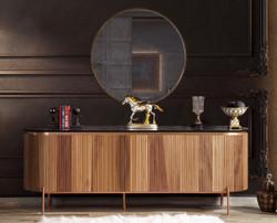 Casa Padrino Luxus Sideboard Braun / Schwarz / Kupferfarben 208 x 60 x H. 80 cm - Edler Schrank mit 4 Türen und Glasplatte in Marmoroptik - Luxus Möbel