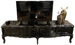 Casa Padrino luxury baroque TV cabinet black / antique gold 222 x 50 x H. 62 cm - Noble TV cabinet with 4 doors and glass top - High quality living room furniture in baroque style