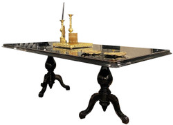 Casa Padrino luxury baroque dining table black / antique gold 225 x 115 x H. 80 cm - Noble dining room table with glass top - High quality dining room furniture in baroque style