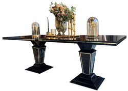 Casa Padrino luxury Art Deco dining table dark brown / black / gold 220 x 110 x H. 76 cm - Noble dining room table with glass top - Art Deco dining room furniture
