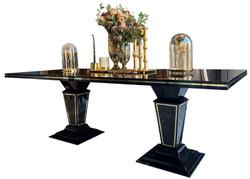 Casa Padrino Luxus Art Deco Esstisch Dunkelbraun / Schwarz / Gold 220 x 110 x H. 76 cm - Edler Esszimmertisch mit Glasplatte - Art Deco Esszimmer Möbel