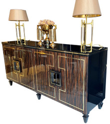 Casa Padrino luxury Art Deco sideboard dark brown / black / gold 220 x 55 x H. 104 cm - Noble cabinet with 4 doors and glass top - Art Deco Living Room Furniture