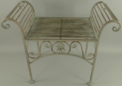 Casa Padrino Art Nouveau garden stool antique gray 68 x 34 x H. 55 cm - Metal stool - Garden & patio furniture