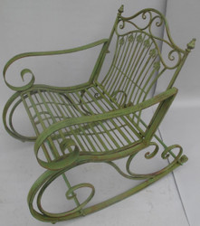 Casa Padrino Art Nouveau metal rocking chair rustic green 65 x 90 x H. 90 cm - Nostalgic Garden & Patio Furniture