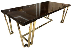 Casa Padrino luxury Art Deco dining table dark brown / gold 220 x 110 x H. 77 cm - Noble dining room table with glass top - Art Deco dining room furniture