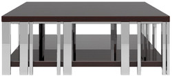 Casa Padrino luxury Art Deco coffee table dark brown / silver 120 x 120 x H. 45 cm - Noble living room table - Art Deco Furniture - Luxury Quality