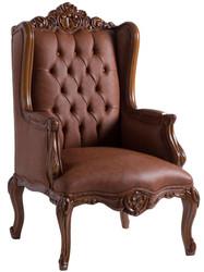 Casa Padrino luxury baroque armchair brown 80 x 75 x H. 125 cm - Living room armchair in baroque style - Baroque Furniture