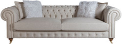 Casa Padrino luxury Chesterfield sofa gray / brown 240 x 100 x H. 78 cm - Noble living room sofa - Chesterfield Furniture