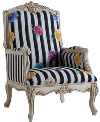 Casa Padrino luxury baroque armchair black / white / multicolor / antique cream 72 x 71 x H. 114 cm - Striped baroque style armchair with floral pattern - Baroque living room furniture
