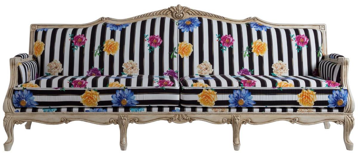 casa padrino canape baroque de luxe noir blanc multicolore creme antique 245 x 80 x h 100 cm canape de style baroque a rayures avec motif