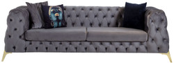 Casa Padrino luxury Chesterfield velvet sofa gray / brass 240 x 95 x H. 81 cm - Modern living room sofa - Chesterfield Furniture
