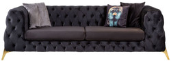 Casa Padrino luxury Chesterfield velvet sofa purple / brass 240 x 95 x H. 81 cm - Modern living room sofa - Chesterfield Furniture