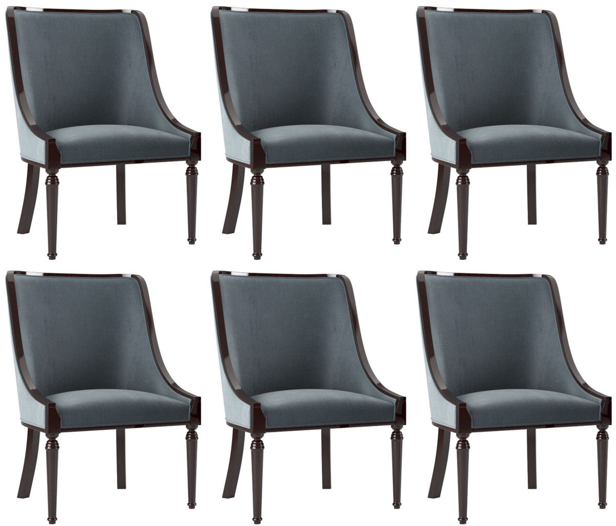 Casa Padrino Luxury Baroque Dining Chair Set Gray Dark Brown High Gloss 50 X 50 X H 92 Cm Noble Kitchen Chairs Set Of 6 Baroque Dining Room Furniture