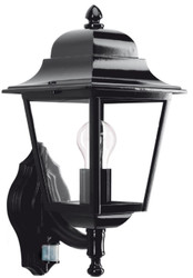 Casa Padrino Art Nouveau outdoor wall lamp with motion sensor black 20 x 26 x H. 45 cm - Balcony Garden Terraces Outdoor Light
