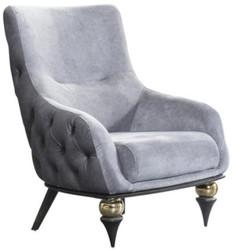 Casa Padrino luxury Art Deco Chesterfield armchair light gray / black / brass 80 x 95 x H. 100 cm - Living room furniture