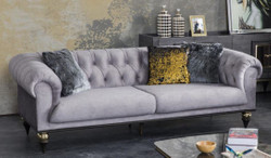 Casa Padrino luxury Art Deco Chesterfield living room sofa light gray / black / brass 230 x 100 x H. 82 cm - Luxury Furniture